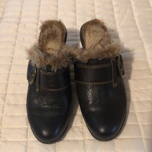 """Born/Boc faux fur lined clogs, with 2"""" thick heel."""